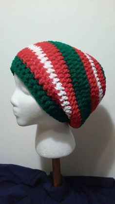Green, Red and White-Striped Crochet Slouchy Beanie - Ready to Ship (35-811) by NoreensCrochetShop on Etsy