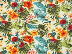 I love that this fabric combines so many of the colors in my palette, and so much tropical flora and fauna. This fabric would be great for curtains, or accent pillows.  It just makes me so happy!