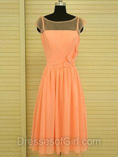 Scoop Neck Orange Chiffon Flower(s) Classic Knee-length Bridesmaid Dress…