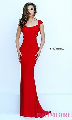 Sherri Hill Lace Embroidered Back Gown  at PromGirl.com