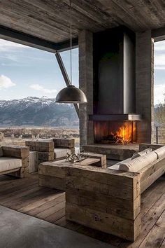 83 Stunning Stylish Outdoor Living Room Ideas To Expand Your Living Space - Page 64 of 85 Outdoor Living Rooms, Living Spaces, Balkon Design, Fireplace Design, Outdoor Areas, Backyard Patio, Exterior Design, Living Room Designs, House Design