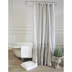"""Vintage Ruffle Shower Curtain (shown in Newport Ticking Linen :: $240 (Free Shipping)   acottageinthecity.com :: [Oversized: 72"""" x 76""""] 100% linen shower curtain w/ a vintage tattered edge and a full gathered ruffle. Made in the USA. Available in 12 colors."""