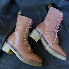 RARE Heeled Dr Martens Industrial Leather Combat Boots Sz 10 Non-Slip Plaid Docs #DrMartens #CombatBoots #Casual