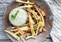 Parsnip Fries with Creamy Garlic-Tahini & Herb Dip