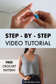 Diy Crochet Top, Crochet Summer Tops, Crochet Halter Tops, Crochet Shirt, Diy Crochet Clothes, Crochet Summer Dresses, Crochet Designs, Free Crochet Top Patterns, Free Pattern