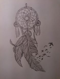Dream catcher with feathers and birds, thigh tattoo design