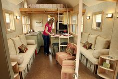 PHOTO: Sharon Read, founder of Seattle Tiny Homes, places dishes in the dining area in the Ballard model home that she created. (SHNS photo by Meegan M. Reid / Kitsap Sun)