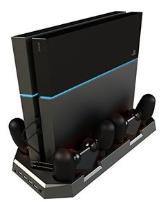 Playstation 4 Vertical Cooling Stand with 2 Fans  Includes 4 Controller Charging Ports  Charging Station for Dual Shock Controllers  4 USB Ports  Black for PS4 Spinz *** Details can be found by clicking on the image.Note:It is affiliate link to Amazon. #commentlike