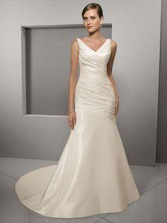 Trumpet/Mermaid V-neck Taffeta Court Train Ruched Wedding Dresses at Millybridal.com