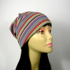 SALE Boho Slouchy Beanie All Seasons Slouch Hat Mans Slouch Hat Womans Slouch Hat Reversible Slouchy Beanie Knit Beanie Striped Beanie Hat by LooptheLoop on Etsy