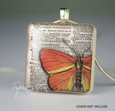 butterfly on vintage dictionary scrabble tile pendant