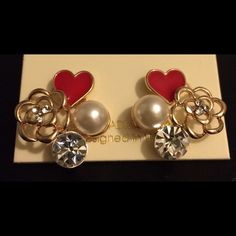 Gold Tone Heart & Flower Earrings with Crystals Gold Tone Heart & Flower Earrings with Crystals and Simulated Pearls. Jewelry Earrings