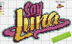 Ponto Cruz logotipo Soy Luna Son Luna, C2c, Hama Beads, Cross Stitching, Pixel Art, Sailor Moon, Ladybug, Crochet, Needlework