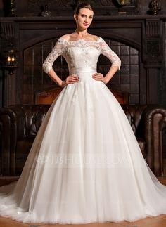 [US$ 379.99] Balklänning Off-shoulder Ringning Court släp Tyll Spetsar Bröllopsklänning