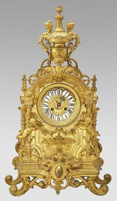 280: Louis XVI style French gilt bronze mantle clock : Lot 280