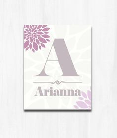 Nursery Art Personalized Name to Match Pottery Barn Kids Bedroom Set Dahlia Print Baby Shower Gift Decor Lavender on Etsy, $10.00