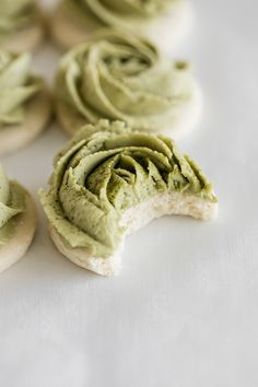 Gluten free sugar cookies decorated with matcha infused frosting. Give  the recipe a try for the upcoming spring season! Also dairy free.