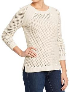 Womens Open-Knit Crew Sweaters