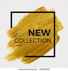 New collection. Gold paint in black square. Brush strokes for the background of poster. - stock vector