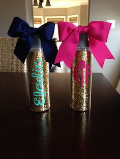 Drink in style with this adorable water bottle. Double wall acrylic bottle measures 18oz. Color options for monogram are endless!! Hand wash recommended.