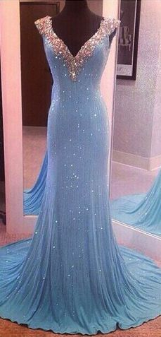 Sparkle Sequins Prom Dress,V-neck Long Evening Dress,Cap Sleeves Mermaid Party Prom Dress