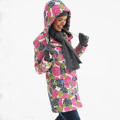 A brilliantly designed wadded winter coat from Weird Fish, available in all over print colourways, with contrasting lining, to brighten up tho. Weird Fish, Waterproof Coat, Fish Print, Winter Coat, Contrast, Lady, Womens Fashion, Clothes, Design