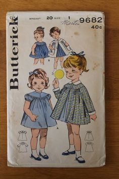 Vintage 50s toddler dress and coat sewing pattern. Butterick 9682. Size 1. 0154