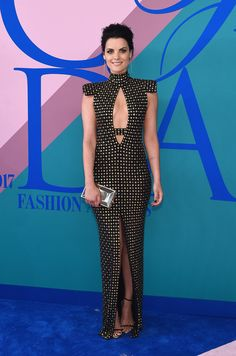 Jaimie Alexander in Marc Bouwer, Giuseppe Zanotti shoes and a Judith Leiber Couture bag