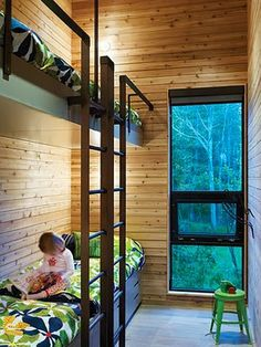 built-in bunks in small places Modern Bunk Beds, Cool Bunk Beds, Kids Bunk Beds, Lofted Beds, Modern Loft, Modern Kids, Modern Bedroom, Modern Rustic, Modern Decor