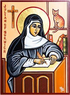 Icono de la Santa en su scriptorium, redactando su obra.