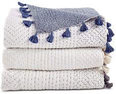 John Robshaw Textiles Sahati Charcoal Throw - New Bedding - New John Robshaw Textiles Sashiko Embroidery, Hand Embroidery, Textiles, Sewing Crafts, Sewing Projects, Neutral Bed Linen, Velvet Quilt, Bed Linen Design, Kids Blankets