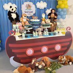 Festa Arca de Noé Noahs Ark Party, Noahs Ark Theme, Noahs Arc, Kids Birthday Themes, Baby Birthday, Birthday Parties, Baby Shower Cakes, Baby Boy Shower, 1st Birthdays