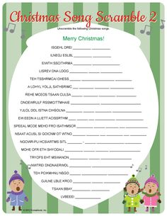 Christmas Song Scramble for classroom activity or game while parents are waiting for show to start