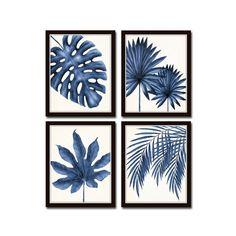 Indigo Blue Watercolor Tropical Leaf Print Set, Giclee, Art Print, Print Sets, B… Leaf Prints, Art Prints, Pantone Greenery, Leaf Illustration, Coastal Art, Tropical Leaves, Color Of The Year, Botanical Prints, Art Decor