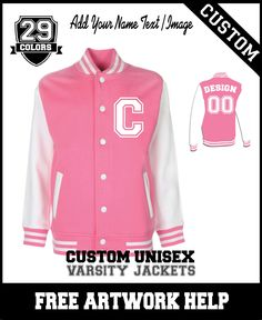 girls ladies women customised pink varsity jackets team coach gift   Team  Coaching 3f0b1c9b6