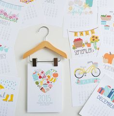 2015 Mini Calendar with wooden hanger, Illustrated, Seasonal, Colorful, Planner,5 x 7, Wall Calendar, Desk Calendar
