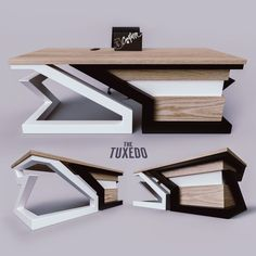 the Tuxedo desk does not require dry cleaning. x Oak x Steel Executive Desk. Office Table Design, Reception Desk Design, Office Furniture Design, Office Interior Design, Office Interiors, Design Desk, Welded Furniture, Iron Furniture, Steel Furniture