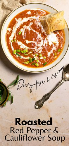 Rich roasted red pepper soup that is dairy and gluten-free too! This easy vegan soup uses cauliflower for a creamy soup that is absolutely delicious! #veganrecipe #soup #redpeppersoup Vegetable Soup Healthy, Vegan Soups, Healthy Soup Recipes, Delicious Vegan Recipes, Chili Recipes, Vegan Food, Easy Recipes, Dairy Free Soup, Dairy Free Recipes