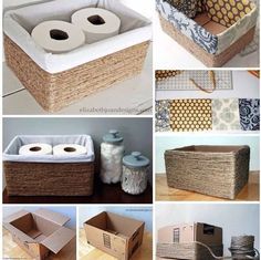 Home Diy Organization Ideas Dollar Stores Ideas For 2019 Diy Storage Boxes, Decorative Storage Boxes, Craft Storage, Small Storage, Baskets For Storage, Diy Storage Containers, Rope Crafts, Diy Home Crafts, Easy Home Decor