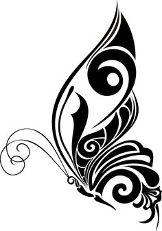 Image for Butterfly Insect Wall Decal Sticker 93 Tribal Butterfly Tattoo, Butterfly Stencil, Butterfly Nail Art, Butterfly Drawing, Butterfly Tattoo Designs, Butterfly Design, Stencil Patterns, Stencil Art, Stencils