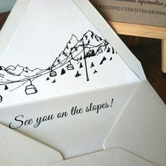 Save the Date Ski lift SAMPLE ONLY Aspen Vail by PixieChicago, $5.00