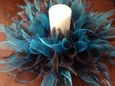 Spiked Chocolate & Turquoise DecoMesh Wreath by HisCreationCreates