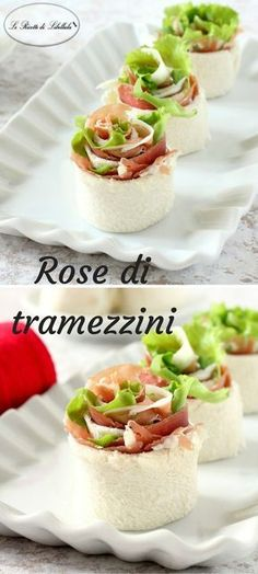 The sandwiches roses are tasty morsels to serve as an appetizer or finger food for an aperitif. Finger Food Appetizers, Finger Foods, Appetizer Recipes, Antipasto, Gluten Free Puff Pastry, Cooking Recipes, Healthy Recipes, Food Decoration, Appetisers