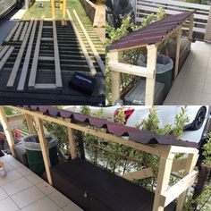 #物置自作 Cladding, Garden Bridge, Diy And Crafts, Pergola, Deck, Exterior, Outdoor Structures, Outdoor Decor, Handmade