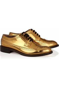 Metallic leather brogues by Marni