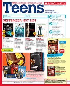 The September 2013 Teens flyer of the Scholastic Reading Club!