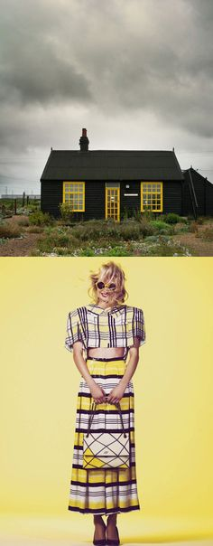 Dark and stormy, chipper and cheerful. Pops of vibrant yellow cut through the dark and highlight plaids of all sizes. Even the yellow windowpanes are an architectural plaid!