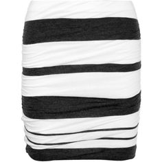James Perse Striped ruched jersey mini skirt ($95) ❤ liked on Polyvore