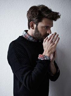 The sweater shirt combo! The hair! The beard! #winning