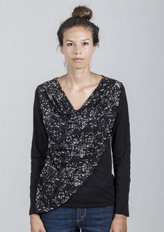 Longsleeve Caterina City Lights Zwart. Gemaakt van tencel en biologisch katoen. #fairwear